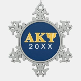 Letras amarillas alfa de Kappa PSI Adorno De Peltre En Forma De Copo De Nieve