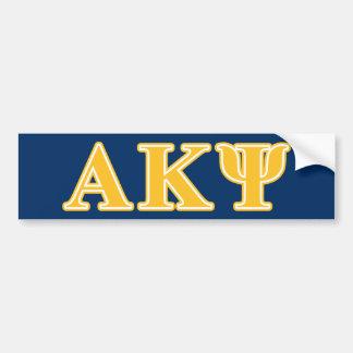 Letras amarillas alfa de Kappa PSI Pegatina De Parachoque