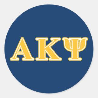 Letras amarillas alfa de Kappa PSI Pegatina Redonda