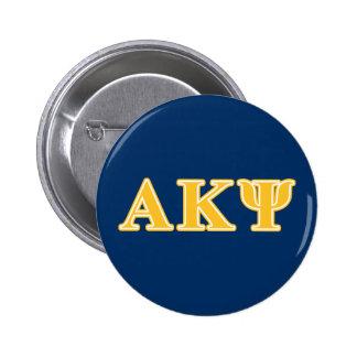Letras amarillas alfa de Kappa PSI Pin Redondo De 2 Pulgadas