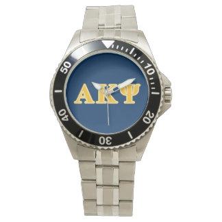 Letras amarillas alfa de Kappa PSI Relojes De Mano