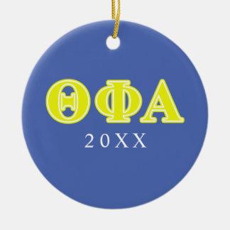 Letras amarillas alfa de la phi de la theta adorno navideño redondo de cerámica