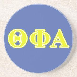 Letras amarillas alfa de la phi de la theta posavasos personalizados