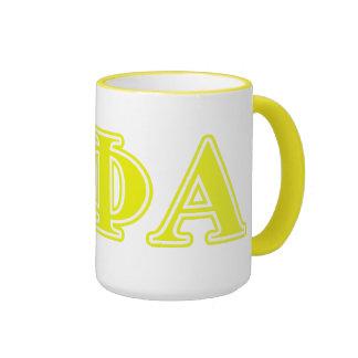Letras amarillas alfa de la phi de la theta taza de dos colores