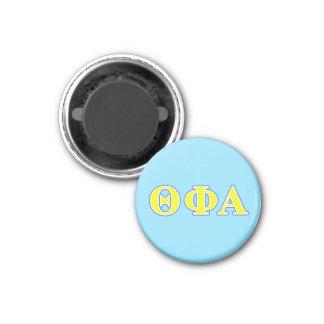Letras amarillas de la phi de la theta y azules imán redondo 3 cm
