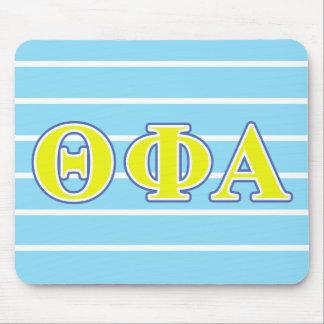 Letras amarillas de la phi de la theta y azules mouse pads
