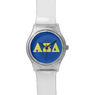 Letras amarillas del delta de la alfa XI Reloj De Mano