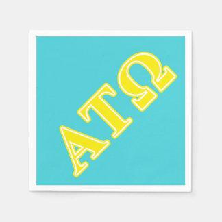 Letras amarillas del Tau Omega de la alfa Servilletas Desechables