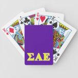 Letras amarillas épsilones alfa de la sigma baraja cartas de poker