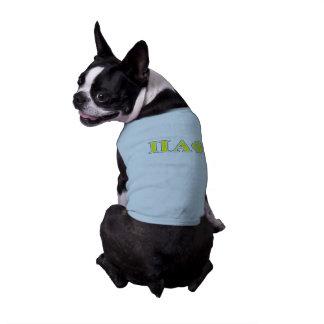 Letras amarillas y azules de la phi alfa del pi playera sin mangas para perro