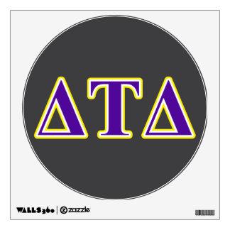 Letras amarillas y púrpuras del delta del Tau del