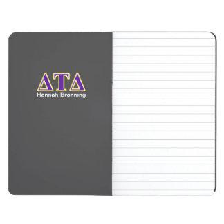 Letras amarillas y púrpuras del delta del Tau del Cuadernos