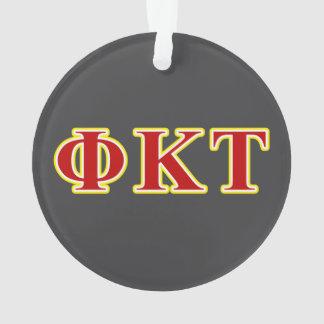 Letras amarillas y rojas del Tau de Kappa de la