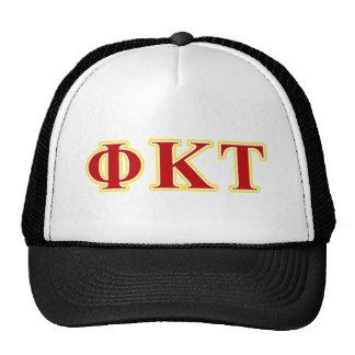 Letras amarillas y rojas del Tau de Kappa de la Gorras De Camionero