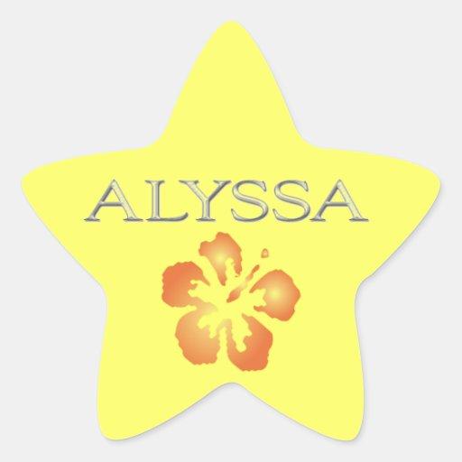 Letras aumentadas personalizado de Alyssa Pegatina En Forma De Estrella