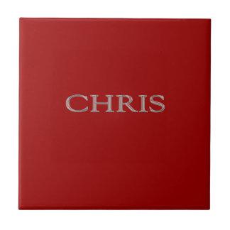 Letras aumentadas personalizado de Chris Azulejo Cuadrado Pequeño