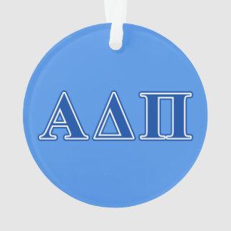 Letras azul marino alfa del delta pi