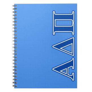 Letras azul marino alfa del delta pi note book