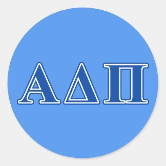 Letras azul marino alfa del delta pi pegatina redonda