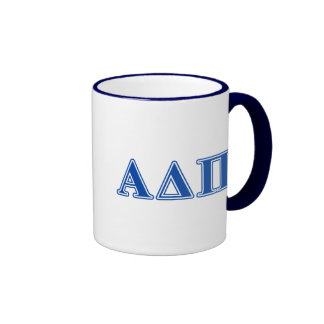 Letras azul marino alfa del delta pi taza a dos colores