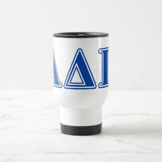 Letras azul marino alfa del delta pi taza de viaje de acero inoxidable