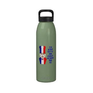 Letras azul marino de la comida francesa del cocin botellas de beber
