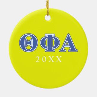 Letras azules alfa de la phi de la theta adorno navideño redondo de cerámica