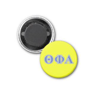 Letras azules alfa de la phi de la theta imán redondo 3 cm
