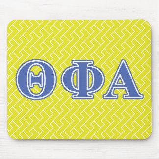 Letras azules alfa de la phi de la theta mouse pads