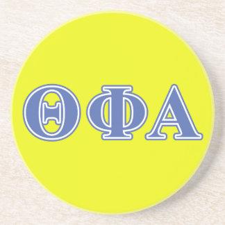 Letras azules alfa de la phi de la theta posavasos cerveza