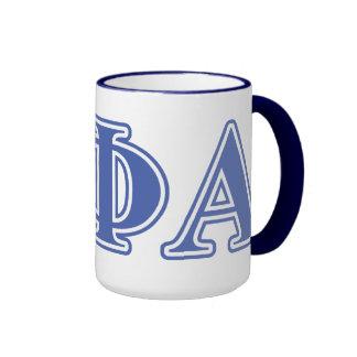 Letras azules alfa de la phi de la theta taza de dos colores