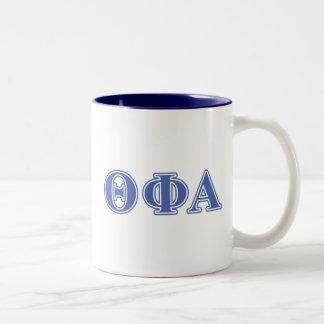 Letras azules alfa de la phi de la theta taza de dos tonos