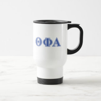 Letras azules alfa de la phi de la theta taza de viaje