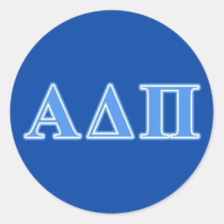 Letras azules claras alfa del delta pi pegatina redonda