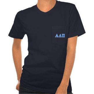 Letras azules claras alfa del delta pi polera