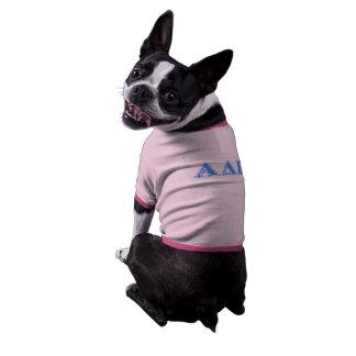 Letras azules claras alfa del delta pi ropa para mascota