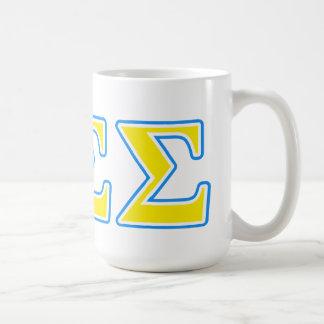 Letras azules y amarillas de la sigma de la sigma tazas de café