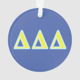 Letras azules y amarillas del delta del delta del