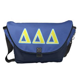 Letras azules y amarillas del delta del delta del bolsa de mensajería