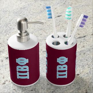 Letras beta del azul de la phi del pi vasos para cepillos de dientes