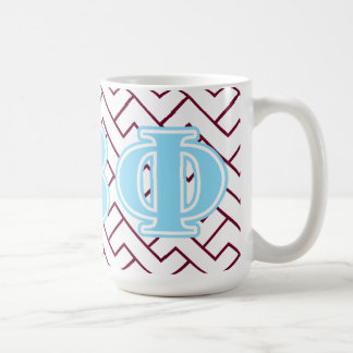 Letras beta del azul de la phi del pi taza básica blanca
