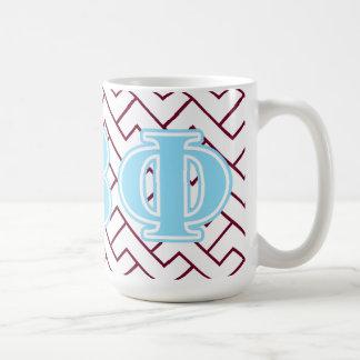 Letras beta del azul de la phi del pi taza clásica