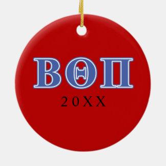 Letras beta del azul de la theta pi adorno de navidad