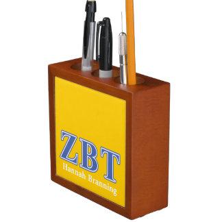 Letras beta del azul del Tau de la zeta Organizador De Escritorio
