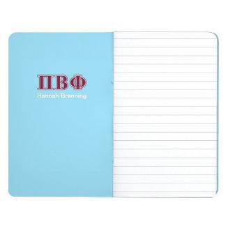 Letras beta del marrón de la phi del pi cuaderno grapado