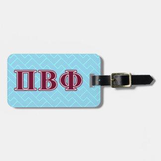 Letras beta del marrón de la phi del pi etiqueta para equipaje