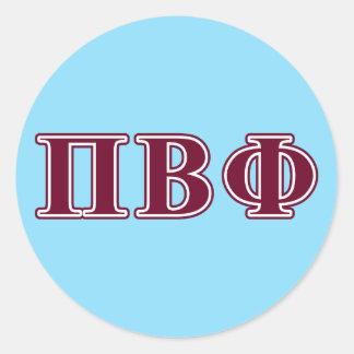 Letras beta del marrón de la phi del pi pegatina redonda