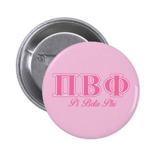 Letras beta del rosa de la phi del pi pin