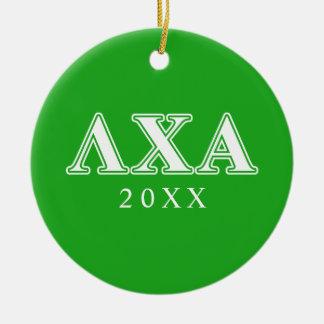 Letras blancas de la ji de la lambda y verdes alfa adorno navideño redondo de cerámica