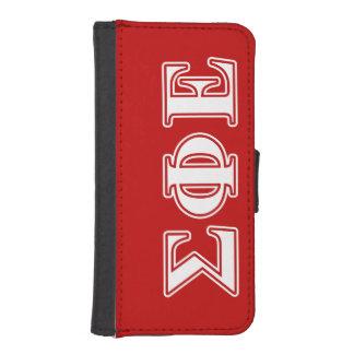 Letras blancas de la phi de la sigma y rojas fundas tipo billetera para iPhone 5